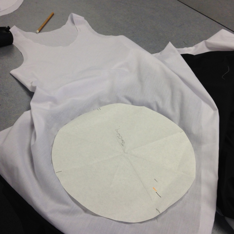 Turn garment inside out and and start placing pair of circles on dress. Make sure the circle is wide enough for body to pass through.