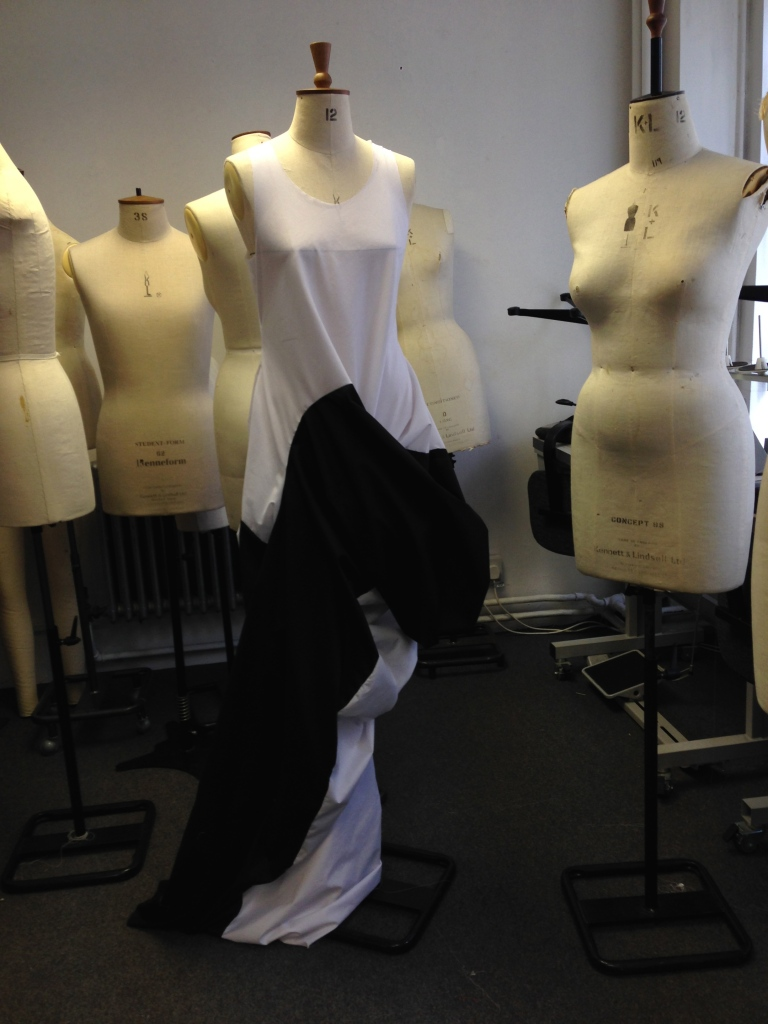 After 2 sets of circles being subtracted and stitched together my dress was ready for the stand.