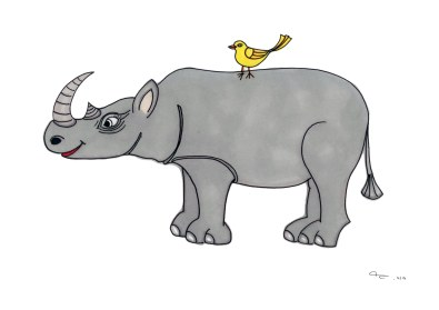 Rhino and Bird