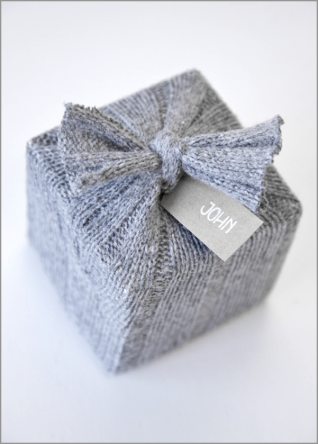 Upcycle Sweater Gift Wrap