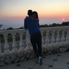 Father and Daughter sunset hug