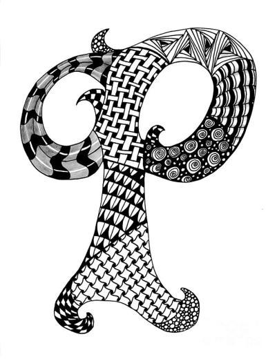 zentangle-letter-p-monogram-in-black-and-white-nan-wright